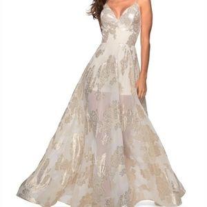 La Femme Prom Dress Sz0 Ivory Gold Metallic Floral